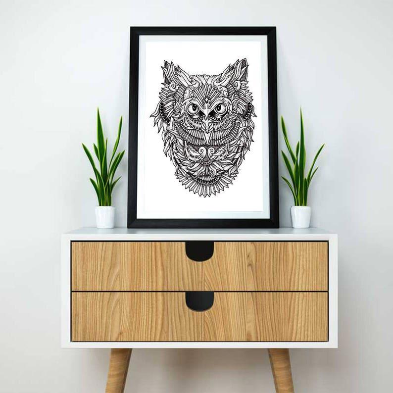 Gufo regalo | Arte del gufo | Illustrazione del gufo | Tatuaggio del gufo |  Stampa di illustrazione | Illustrazione del gufo eccentrico |