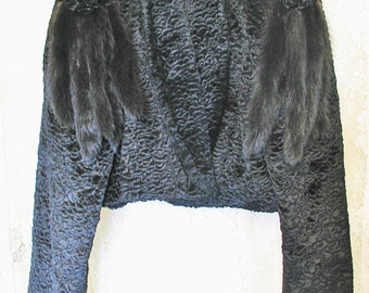 5dca4e8558528 Persian Lamb Jacket Black Faux Lamb with Mink Embellishments.....Vintage  Faux Fur Black Persian Lamb Jacket