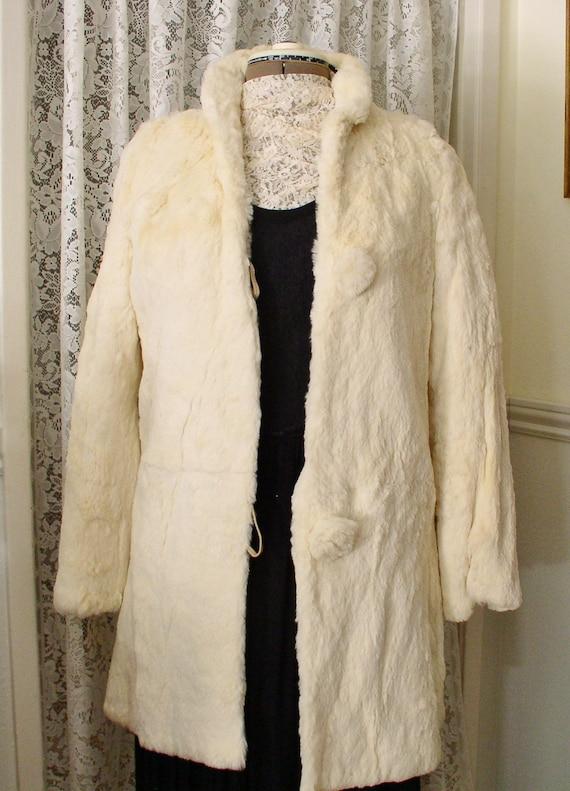 White Fur Coat Sheared White Beaver Vintage Stroll