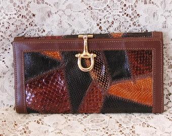 Varon Wallet in Brown Reptile Skin......Vintage Varon Snake Skin Wallet