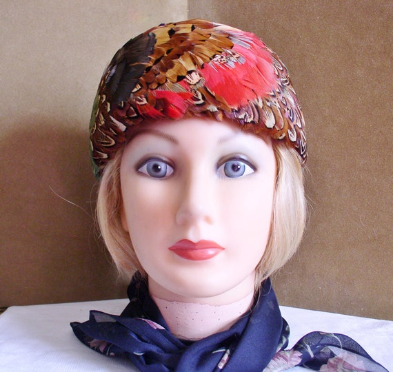 Feather Hat Pillbox Feather Hat in Multi Colored G