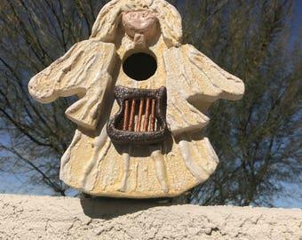 Angel Birdhouse with Harp
