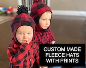 Custom Made Fleece Hat with Prints, Winter Hat, Aviator Hat, Infant, Toddler, Child, Baby Branch Boutique