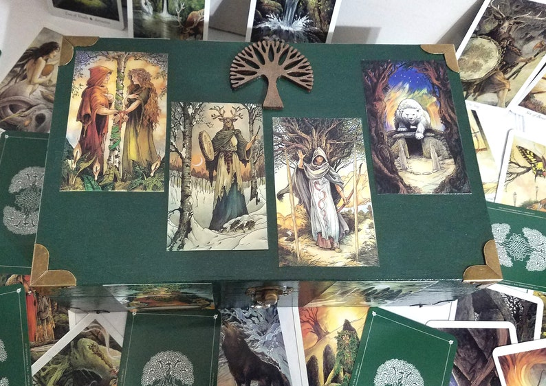 Wildwood Tarot Box, Celtic, Shaman, Nature Tarot, Wicca, Magic, Druid,  Fortune Box, Tarot Storage, Protective Card Deck Box, Wood Keepsake