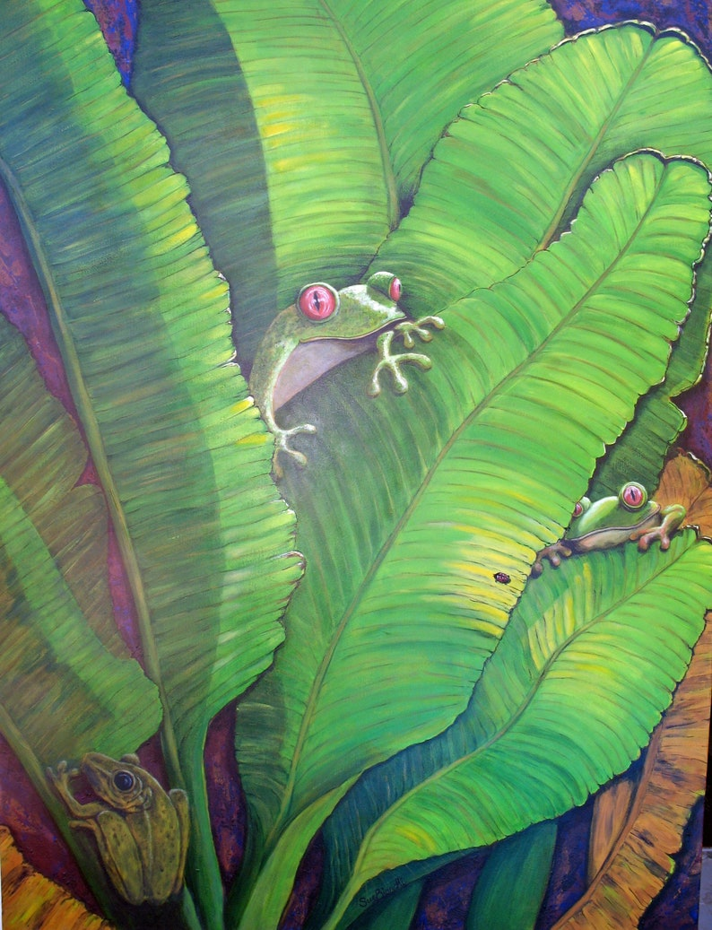 Frog Print A3 size. Bright and Cute Frog image Nursery Wall image 0