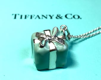 cf444b8f2 Tiffany & Co 925 Sterling Silver Blue Enamel Signature Gift Box Necklace  Charm Pendant Chain