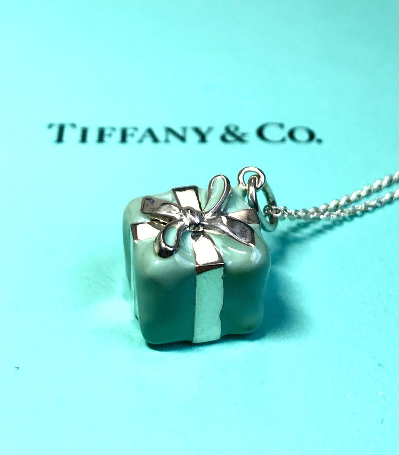 8ff42e845a69c Tiffany & Co 925 Sterling Silver Blue Enamel Signature Gift Box Necklace  Charm Pendant Chain