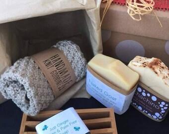 Natural Artisan Soap Gift Box   Palm Free Soap   Handmade Natural Soap   Organic Soap   Sustainable Soap Gifts   Organic Face Washers