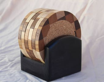 Wood Coaster Set (6 coasters) with Black Base