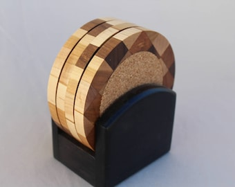 Wood Coaster Set (4 coasters) with Black Base