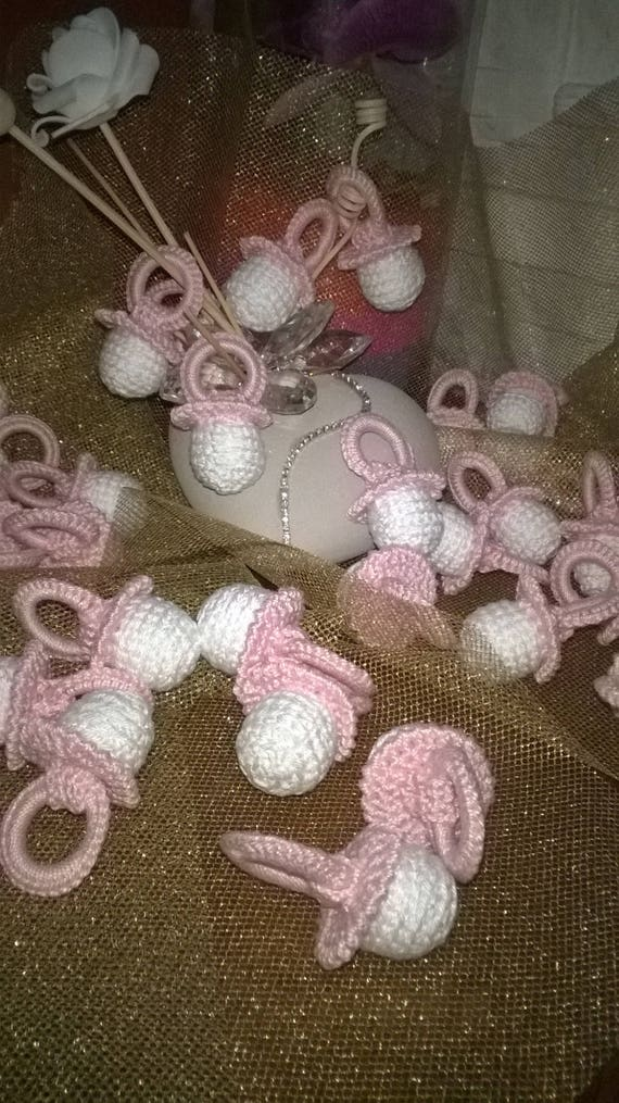 Bomboniera nascita o battessimo ciuccio uncinetto rosa