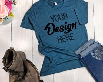 Download Free Bella Canvas 3001 Heather Deep Teal Unisex T-shirt Mockup - TShirt Mockup - Mock Up - T Shirt MockUp -Outfit Wood Background-Flat Lay Mockup PSD Template