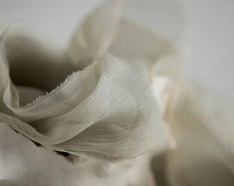 Silk Ribbon - Crincle Hand Dyed, Plant Dyed Silk Ribbon - SAGE
