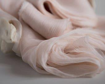 Silk Ribbon - Crincle Hand Dyed, Plant Dyed Silk Ribbon - SEASHELL