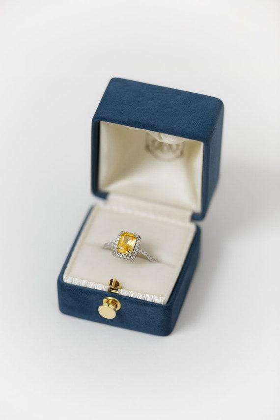 Lock Handmade Antique Engagement Wedding Single Slot Ring Box Velvet and Genuine Leather Monogrammed Velvet Vintage Style 19 COLORS