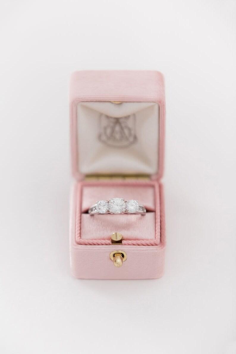 Handmade Vintage Monogram Engagement Wedding Ring Proposals Styled Shoots Velvet Ring Box Monogrammed Vintage Style 26 COLORS