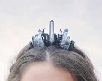 Blue Moon Crystal Crown,Mini Moon Crown,High Priestess,Festival Crown,Wiccan Crown,Costume Crown,Festival Headpiece,Witch Crown,Gothic Crown