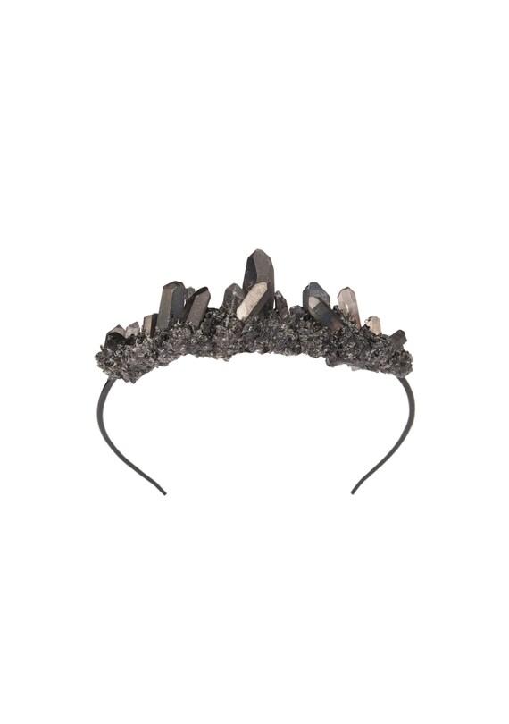 Quartz Cluster Side Headband,Reversible Headband,Festival Raw Crystal Crown,Boho Headpiece,Bridal Headband,Wedding Crown,Bridal Hairpiece