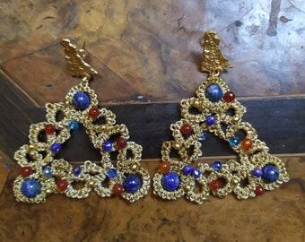 Trinacria earrings in ceramic casting glass pendant earrings symbol of Sicily trinacria painted earrings