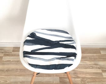 Blue Seat cushion-Eames chair-abstract pattern-upholstered chair pad-modern design-seat cushion with zipper-padded