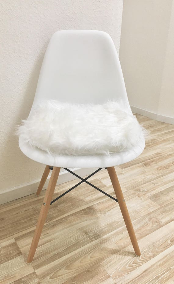 Remarkable White Padded Chair Cushion For Eames Chairs Faux Fur Chair Pad Chair Seat Cushion Kitchen Dining Room Long Hair Plush Pabps2019 Chair Design Images Pabps2019Com