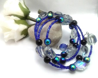 Blue and Black Seed Bead Memory Wire Bracelet, Beaded Wrap Bracelet, Handmade Bracelet, Beaded Bracelet, Wrap Bracelet, Handmade Jewelry
