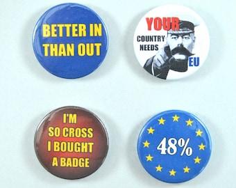 "Pinback 1"" Button Badge - Anti-Brexit Badge - protest badge - political pin - EU badge - pin button - protest button"
