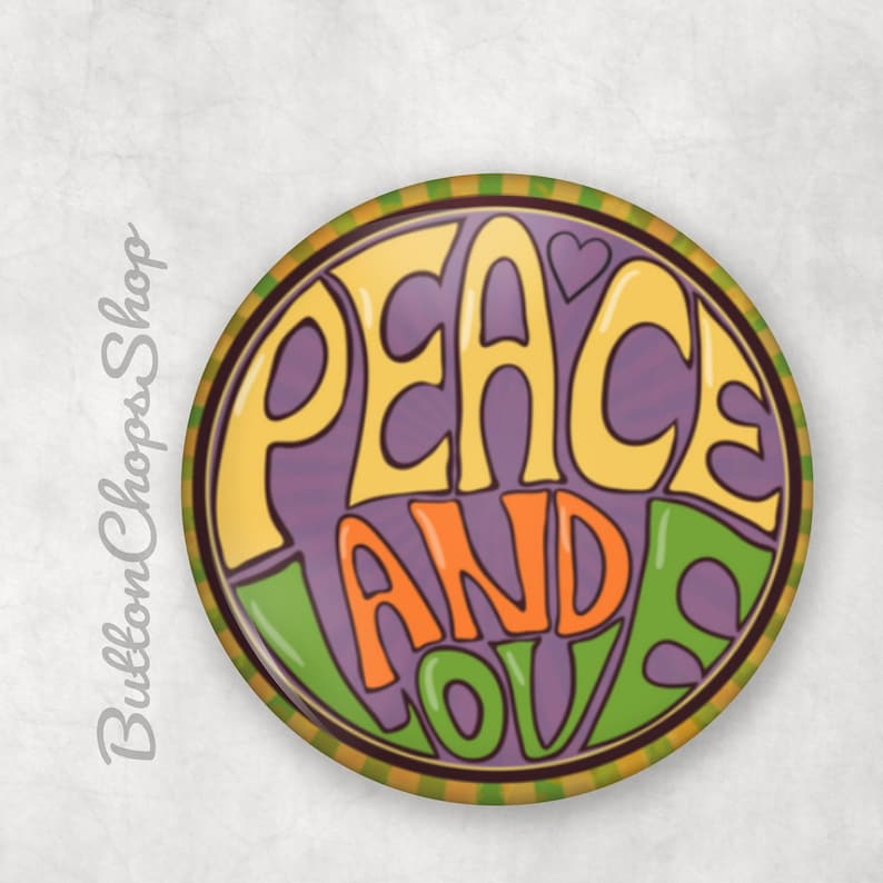Peace and love Peace pin Summer of Love 1 pinback image 0