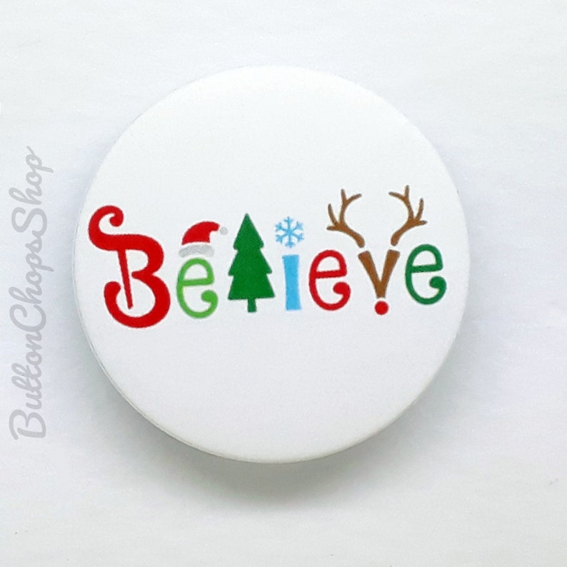 PERSONALISED FATHER CHRISTMAS STOCKING FILLER GIFT BADGES//FRIDGE MAGNET//MIRROR