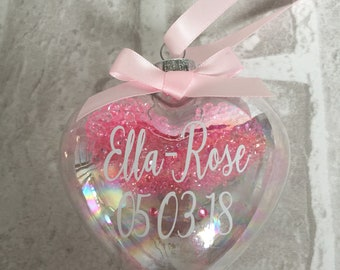 New baby gift, Baby birth bauble, new baby bauble, babies 1st christmas bauble, love heart bauble, baby birth stats, glass bauble