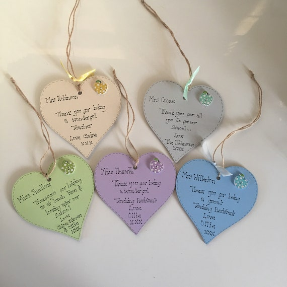 Freestanding Gift//Keepsake Personalised Heart for Teacher with Message