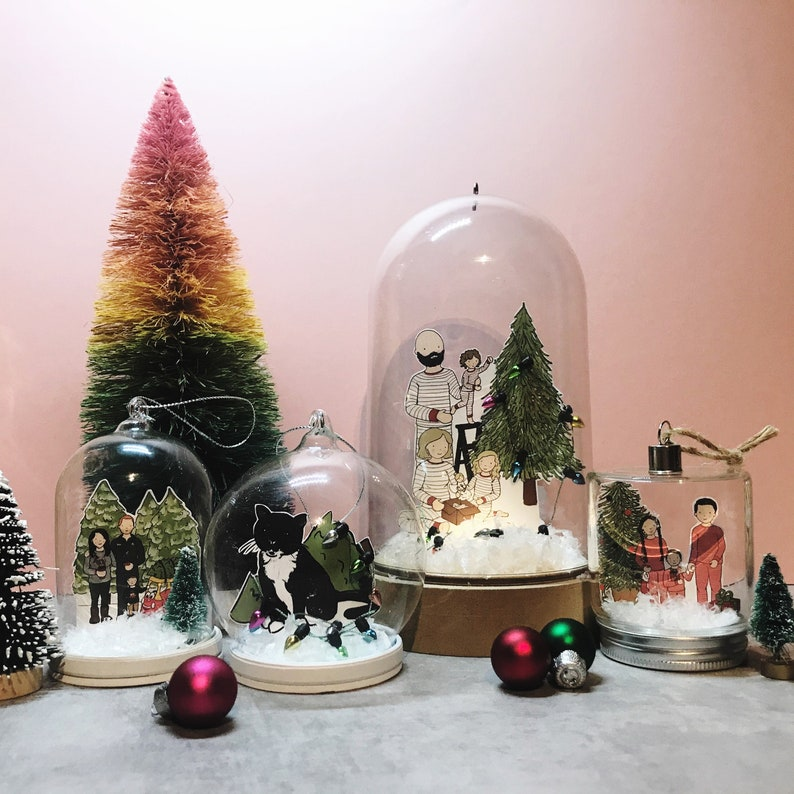 ADD ON ONLY Christmas Illustration Snow Globe Decoration image 0