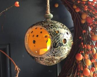 Handmade ceramic sphere shape luminary, pottery luminary, stonewhare luminary, wheel throwned luminary, white an blue luminary