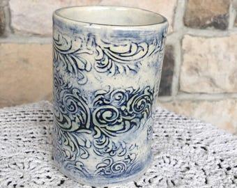 Handmade ceramic white and blue tumbler