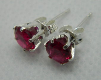7e2fad410 LAB RUBY - 1 ct each Lab Created Ruby Stud Earring Pair in Sterling Silver