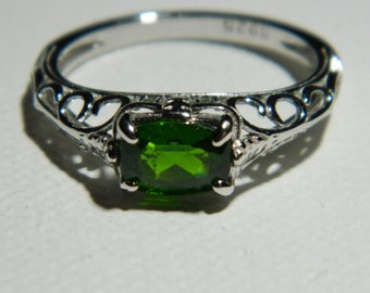 CHROME DIOPSIDE - Vibrant Chrome Green Oval .83 ct Checkerboard Cut Sterling Silver Filigree Side Set Solitaire Ring