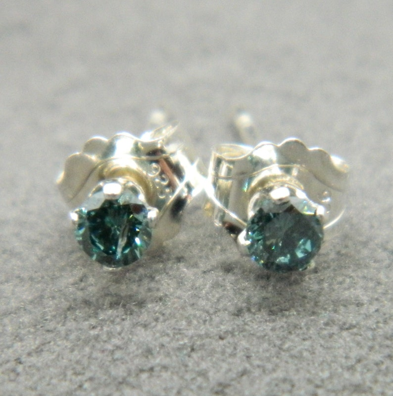 DIAMOND Natural Mined Coloured  2.5 mm Diamond Micro Mini Stud Sterling Silver Earring Pairs