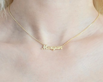 14k Solid gold name necklace - Name necklace - Gold name necklace - Tiny name necklace - Personalized jewelry - Personalized Gift - Gift