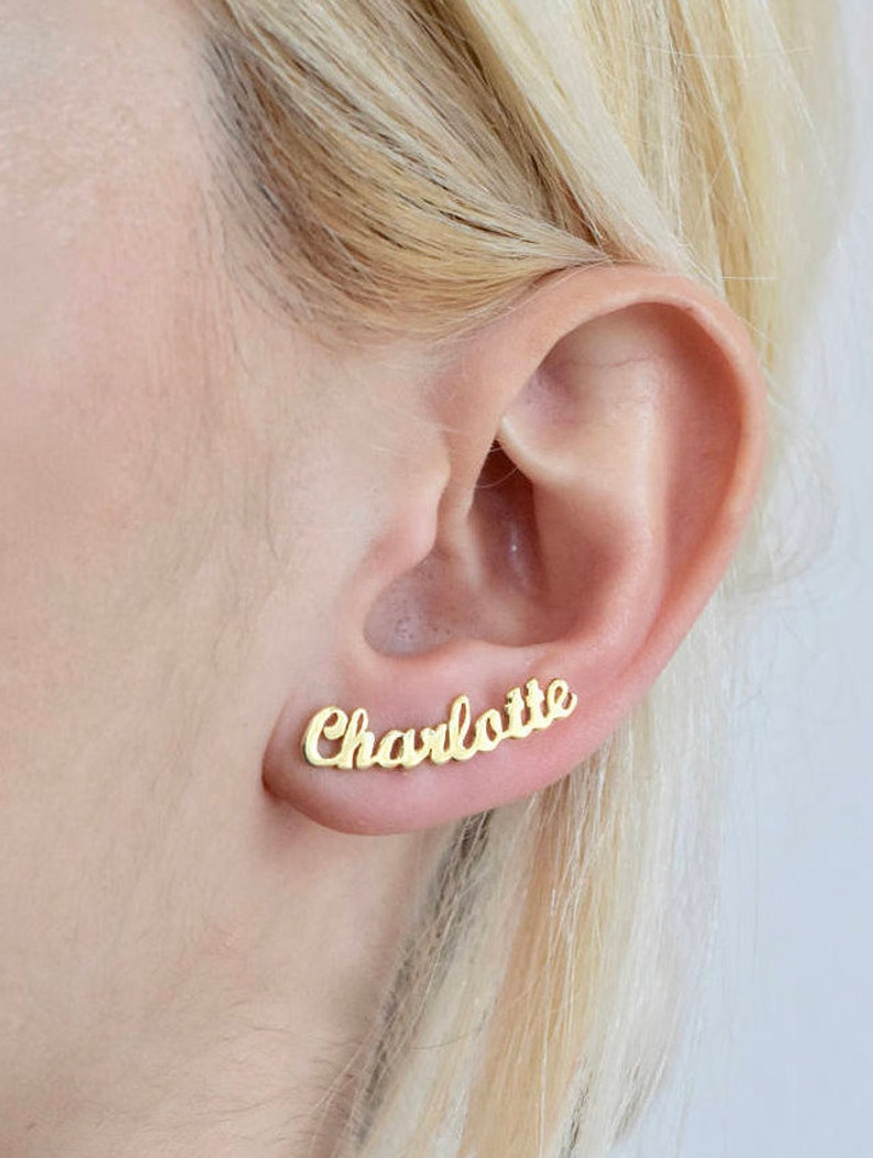 Name Earrings  Minimalist Earrings  Personalized Earrings  image 0