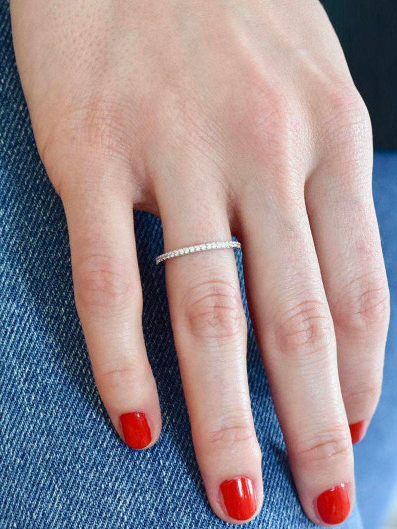 Eternity Ring  Full Round CZ Stone Ring  Engagement Eternity image 0
