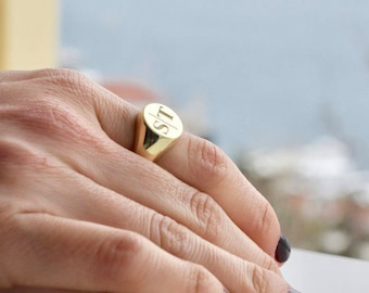 Signet Ring - Personalized Signet Ring - Couples Signet Ring - Gold Signet Ring - Initial Signet Ring - Initial Ring - Valentine's Day Gift