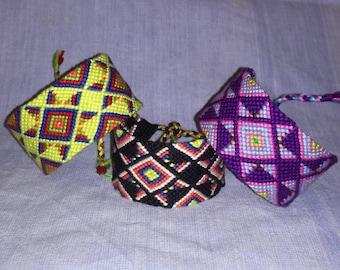 Native American knotted bracelets  Braided wrist band Handwoven bracelet Cotton anniversary gift String friendship bracelet Men's wrist cuff