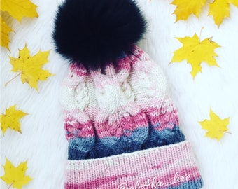 Gray Pink ombré knit hat Fur pom pom chunky knit hat Gradient hat Cable  wool warm headwear Cable knit winter pompom Holidays winter hat 6703e67d3390