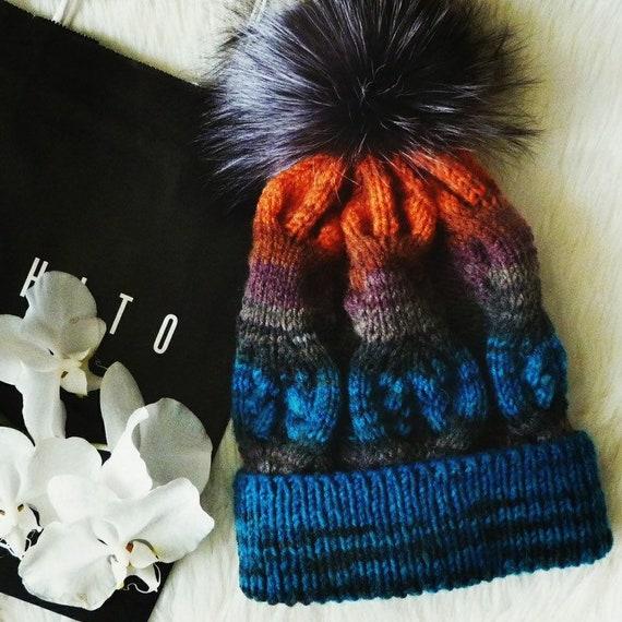 Women Ladies Farmed Raccoon Fur Pom Pom Hat Diamante Warm  c3104576464c