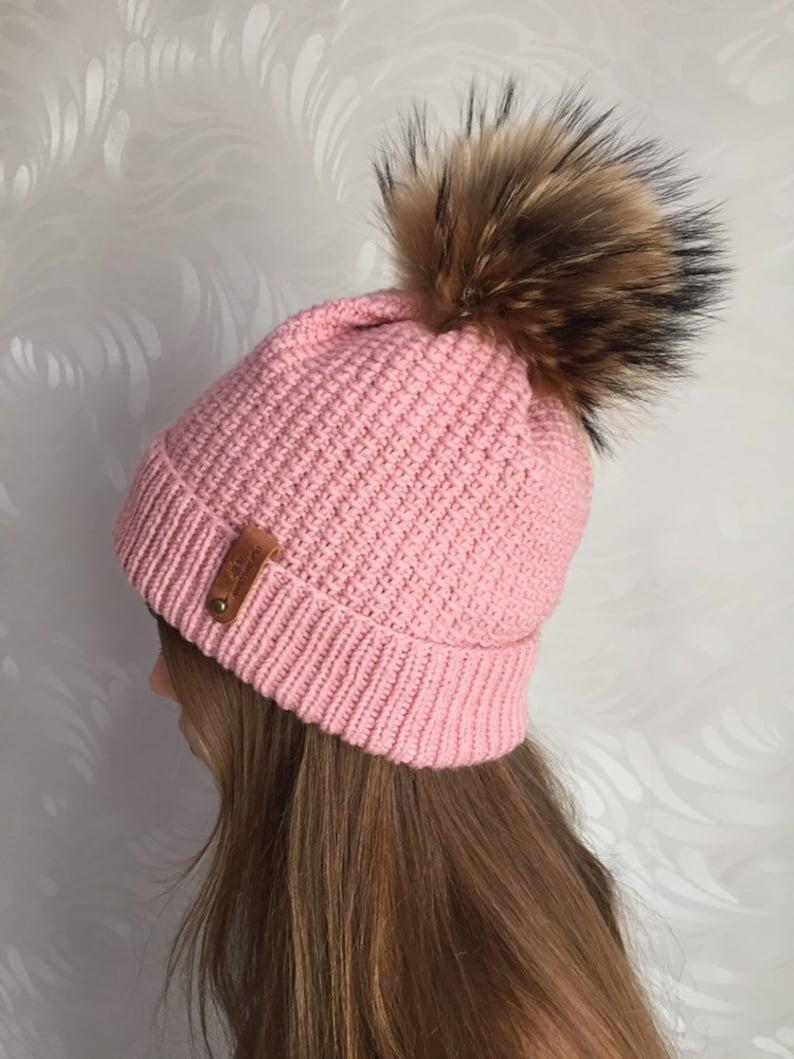 a0f79a6190ccc Fur Pom Pom Knit Beanie Handmade Pink Winter Hat black
