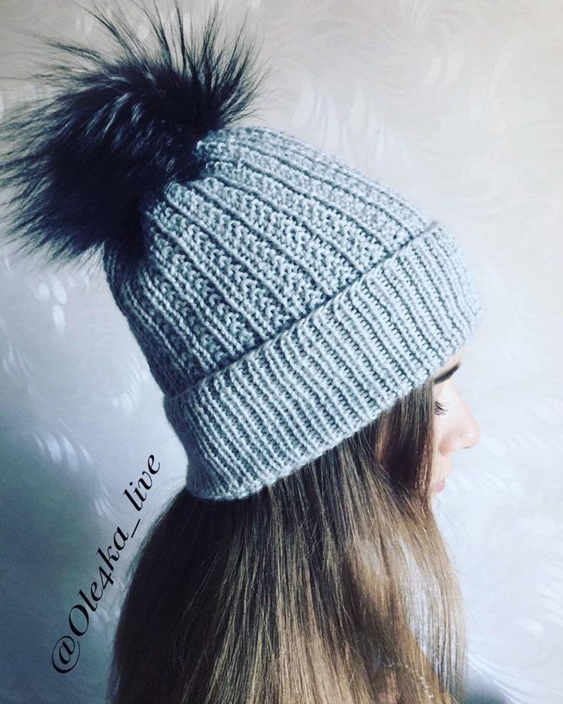 6c3aa62e623 Cashmere Grey Slouchy Beanie Hat Handmade silver fox Fur