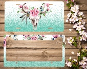 Mint and White - Watercolor Bull Skull - Front License Plate - License Plate Frame - Personalized Car Tag