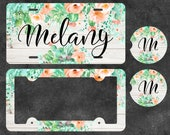 Succulent and Watercolor Floral - Coral - White Wood - Aluminum Vanity Plate - License Plate Frame - Car Coasters - Personalized