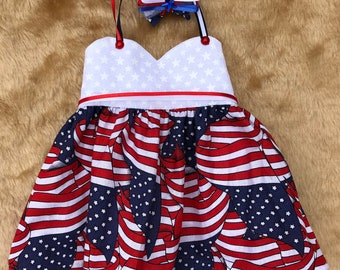 "July Fourth Cotton Dress fits American Girl Doll & 18"" Dolls"