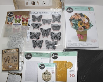 Sizzix Dies and Stamps Lot Butterflies Ornaments Flowers